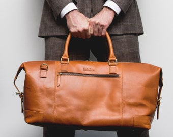 Leather weekender Bag holdall duffel overnight cabin luggage travel bag for men and women - Niche Lane Aviator