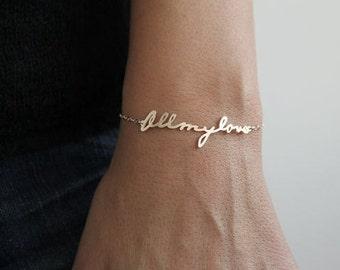 Signature Bracelet, Handwriting Bracelet, Personalized Name Bracelet, Word Bracelet, Nameplate bracelet