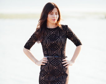 Black lace dress with nude lining