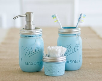 Hand Painted Turquoise Ball Mason Jar Bathroom Set. Toothbrush Holder. House warming Gift. Home Decor. Rustic Home. Wedding Gift. Blue