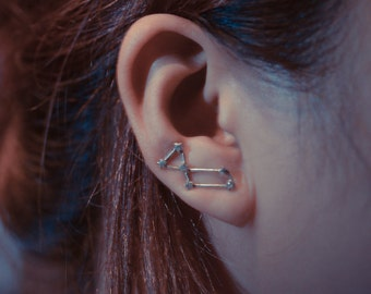 Lyra Constellation Sterling Silver Ear Climbers
