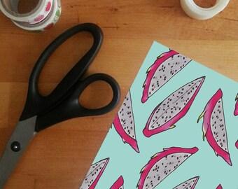 Printable Dragon Fruit Gift Wrap - printable wrapping paper, fruit digital paper, fruit pattern gift wrap, tropical gift wrap, A4 gift wrap