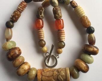 Tribal Necklace, Boho Necklace, Ethnic Necklace, Chunky Necklace