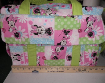 Diaper Bag and Changing Pad made with Minnie Mouse Fabric