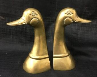 Mid Century Brass Goose Head Bookends
