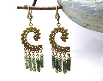 Ethnic earrings and its genuine agate beads