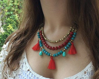 Red & Turquoise Short Necklace - Tassel Necklace - Short necklace - Multistrand necklace - Bohemian necklace - Boho necklace - Gypsy style