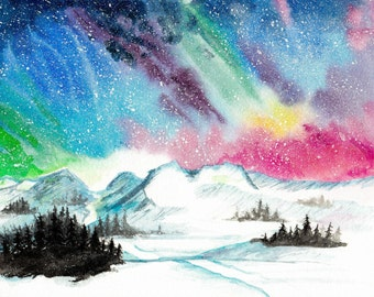 Northern Lights - Watercolor Print
