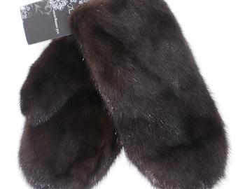 Winter natural fur Mink Mittens (gloves) Dark Brown gift for her gift for women