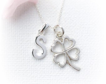 Sterling Silver clover Necklace, Personalized lucky Necklace, Initial Necklace, Sterling silver clover Pendant, Silver personalized necklace