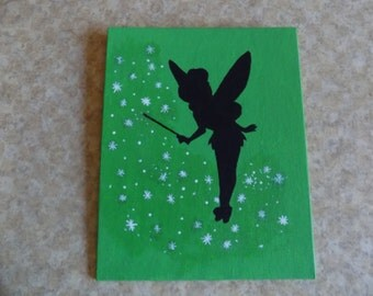 Disney's Tinkerbell Inspired Silhouette Painting- 8x10 Canvas