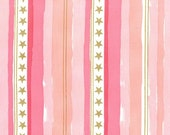 QUILTING COTTON Michael Miller Stars And Stripes In Pink With Metallic. Sold by the 1/2 yard