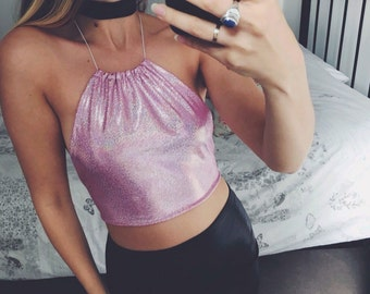 sparkle glitter, pink sassy side boob holographic halter top uk 6-10