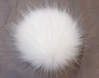 Size XS(high quality) cream white faux fur pom pom 4 inches/ 10cm