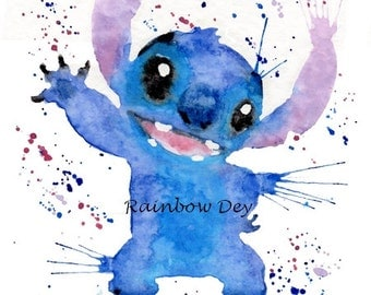 STITCH - Watercolour - work dated and signed - delivery available in France!