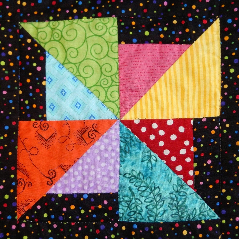 Pinwheel PDF easy scrappy pieced quilt block pattern simple