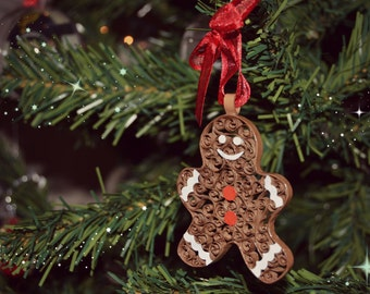 Gingerbread Man Christmas tree ornament in quilling.
