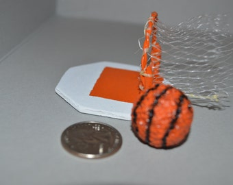 miniature basketball and goal, ready for your dollhouse, garage or diorama