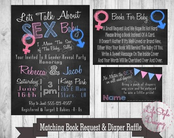 Gender Reveal Invitation, Lets Talk About Sex Baby, Pink or Blue, Boy or Girl- Funny Gender Reveal Invite-Baby Shower-Diaper Party-Printable