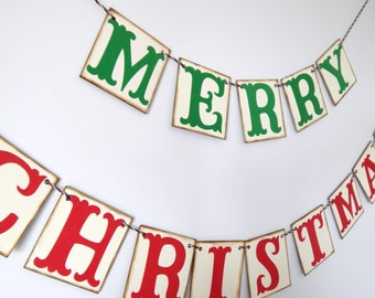 Christmas Banner, Merry Christmas Chipboard Banner, Holiday Decoration, Christmas Photo Prop, Christmas Decoration