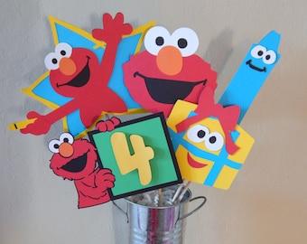 Red Monster Birthday Centerpiece, Custom Age Centerpiece, Birthday Party Decoration
