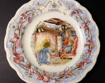 """Brambly Hedge """"WINTER""""  8"""" Royal Doulton Plate"""