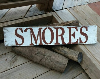 Smores Sign, Smores Bar, Cake Table Sign, Dessert Table Sign, Reception Sign, Candy Buffet, Candy Bar Sign, Shabby Chic Sign, Rustic Sign