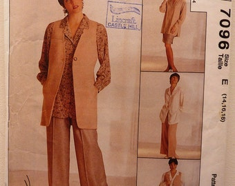 McCall's 7096 Sewing Pattern for women. UnCut Ladies Vest Tunic Skirt Pants. 1994