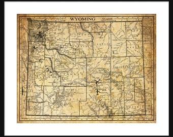 Wyoming Map - Print - Poster