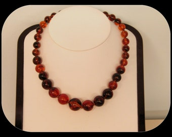 Vintage Amber Color Beads Gold Plated Lucite NECKLACE 20""