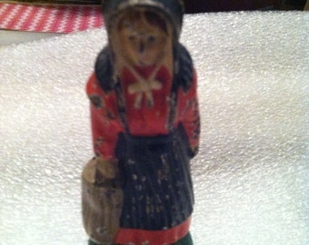 Cast Iron Amish Lady with bag