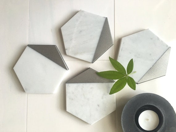 Bianco Gioia Hexagon Marble Casters. Silver Painted. Set of 4. Set of 6
