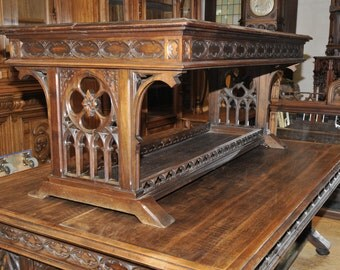 Antique French Gothic Desk Office Study Furniture Walnut 19th Century #5409