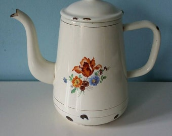 Beautiful brocante French enamel coffee pot with flowers