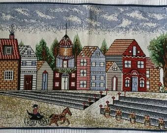 Gobelin style machine woven tapestry with houses and horse with carriage wall décor table-mat