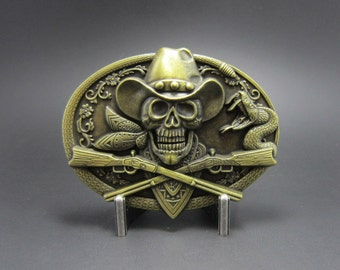 Antique Bronze Cowboy Metal Belt Buckle Skull Rifles