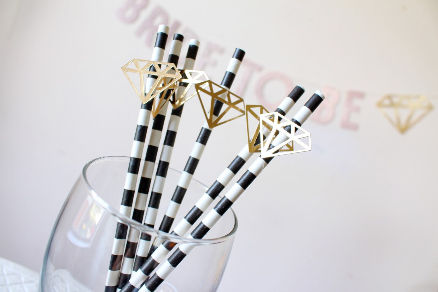 Diamond Ring Bridal Shower Party Straws