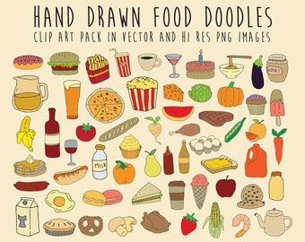 Hand Drawn Food Doodle Clipart, Doodle Food Clipart, Scribble, Sketch Clipart Clip Art PNG & Vector EPS AI Design Elements Digital Download