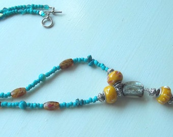 Beaded Necklace with Abalone Shell
