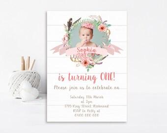 Vintage Birthday Invitation - Shabby Chic Invitation - Printable Invitation - Vintage Party - Girls Birthday Invitation - Personalized GB09