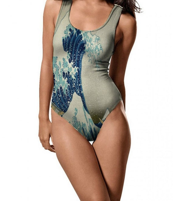 "Unique Womens Swimsuit with Full Print of Paintings of Great Artists. All Sizes. Painting ""Great Wave off Kanagawa"" Katsushika Hokusai"