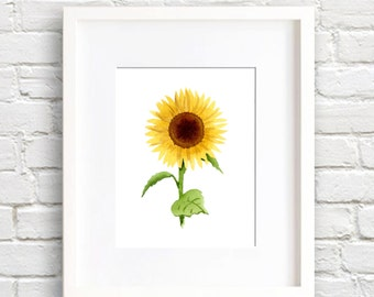 Sunflower Art Print - Wall Decor - Watercolor Painting