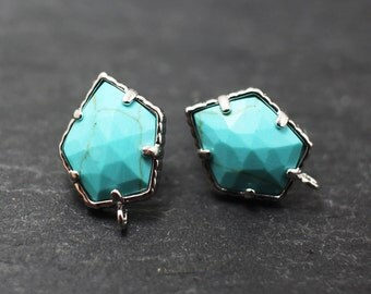 E0029/Anti-Tarnished Rhodium Plating Over Brass+Sterling silver post /Genuine Turquoise Pentagonal earrings/16x10mm/2pcs