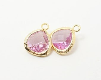 G002214/Lavender/Gold plated over brass/Small teardrop faceted glass Pendant/11x13mm/2pcs