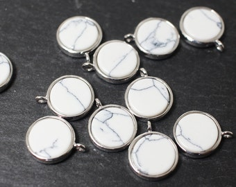 P0393/Anti-tarnished Rhodium Plating Over Brass+Howlite/Howlite Circle Pendant/10mm/2pcs