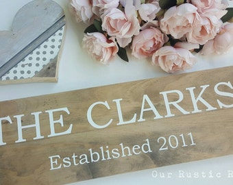 Established Family Wood Sign Last Name Surname - Rustic Aged Look Handpainted Timber Wooden Sign (18 x 60cm) CUSTOMISABLE Made in Australia