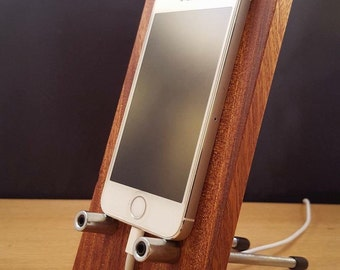 Mobile phone holder, stand, dock made from solid Sapele hardwood finished with natural wax.