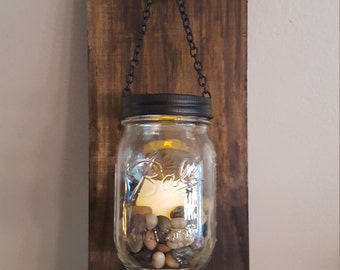 Mason jar wall decor, wall sconce, wood sconce, rustic wall sconce
