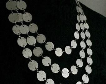 Silver Tone round discs statement boho bib necklace chain link