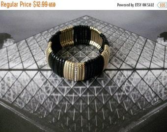 ON SALE Vintage Black Gold Rhinestones Bracelet 72216